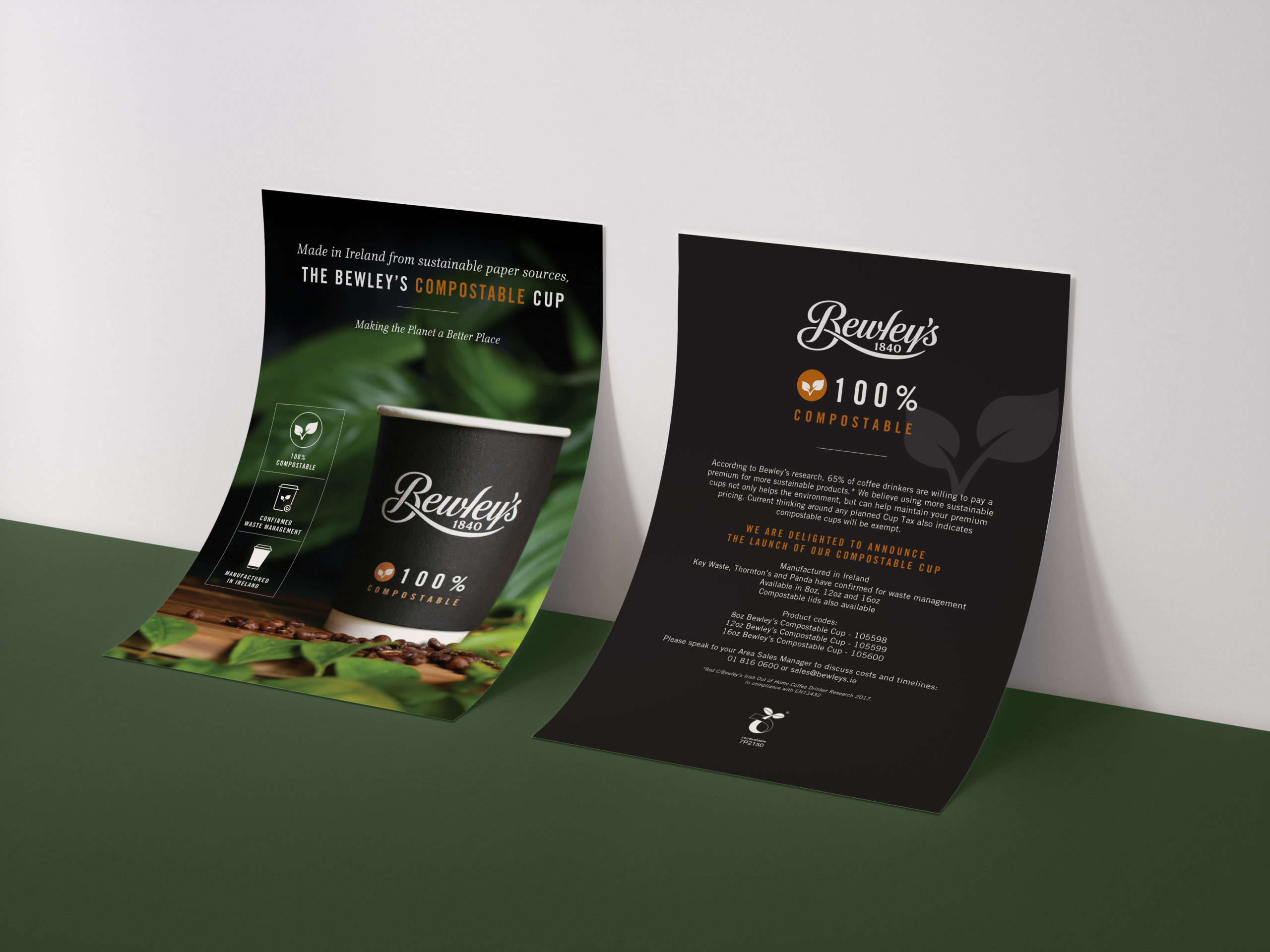 Compostable Coffee Cups Takeaway Brochure Bewley's Graphic Design